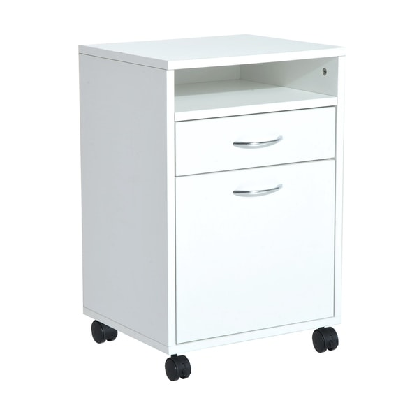 Homcom 24 Mobile Printer Stand Office Storage Cabinet On Wheels White
