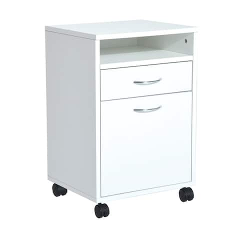 "HomCom 24"" Rolling End Table Mobile Printer Cart Nightstand Organizer - White"