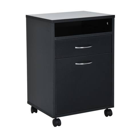 "HomCom 24"" Rolling End Table Mobile Printer Cart Nightstand Organizer - Black"