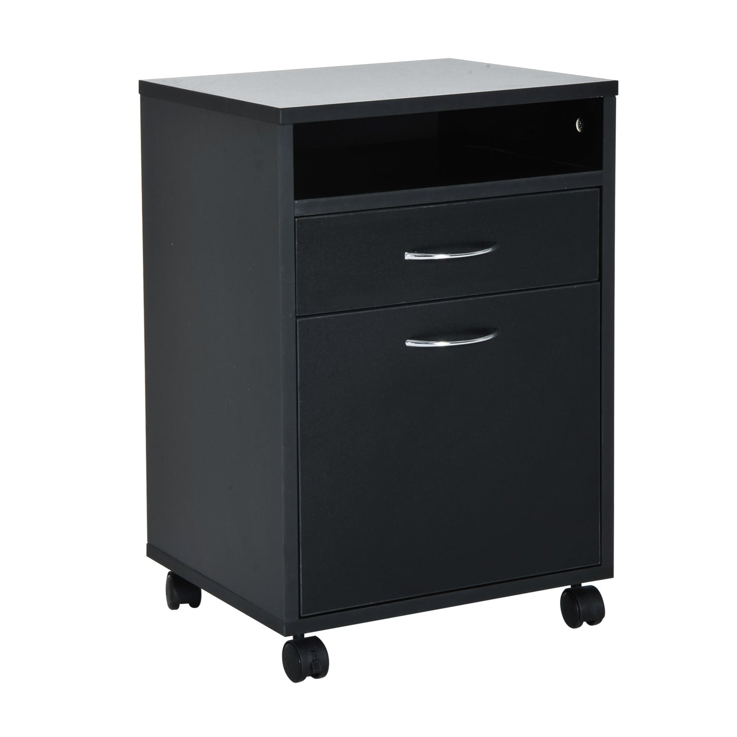 homcom 24 mobile printer stand office storage cabinet on wheels black ebay. Black Bedroom Furniture Sets. Home Design Ideas