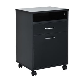 "HomCom 24"" Mobile Printer Stand / Office Storage Cabinet On Wheels - Black"