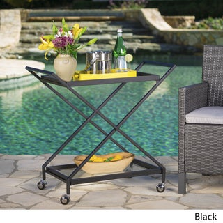 Annika Outdoor Industrial Bar Cart by Christopher Knight Home