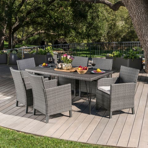 Darwin Outdoor 7-piece Rectangular Wicker Dining Set with Cushions by Christopher Knight Home