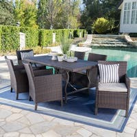 Arlo Outdoor 7-piece Rectangular Wicker Aluminum Dining Set with Cushions by Christopher Knight Home