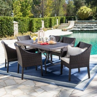 Azusa Outdoor 7-piece Rectangular Wicker Aluminum Dining Set with Cushions by Christopher Knight Home