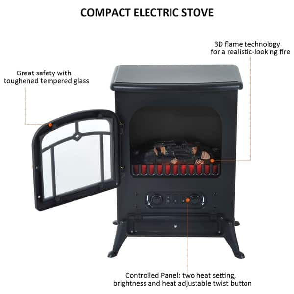 Shop Homcom 21 H 1500w Compact Freestanding Electric Wood Stove