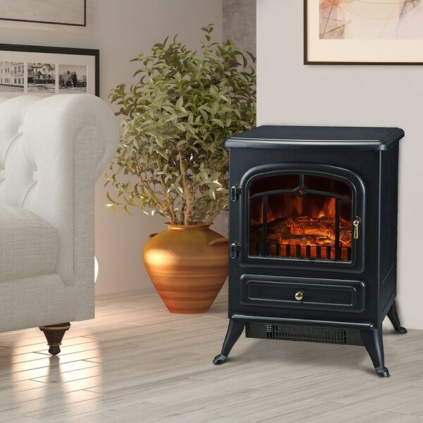 """HomCom 21"""" H 1500W Compact Freestanding Electric Wood Stove Fireplace Heater with Realistic Flames, Black"""