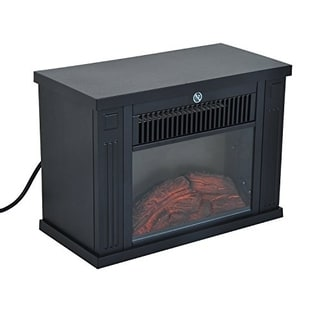 "HomCom 14"" 1000W Free Standing Electric Fireplace - Black"