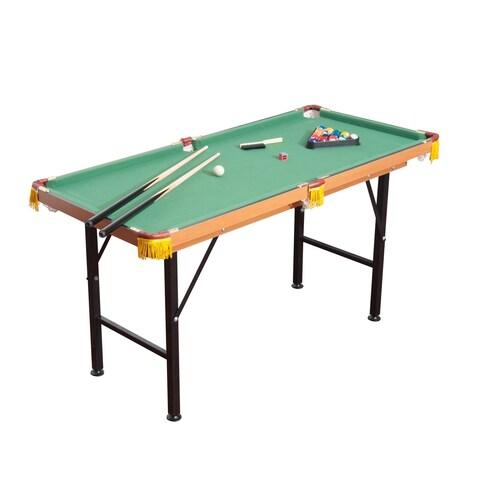 HomCom 55 Realistic Fleece Compact Lightweight Foldable Pool Billiards Table