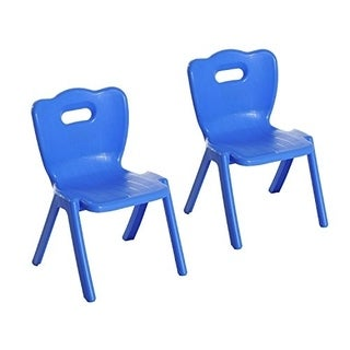 Qaba Stackable Kids School Chairs - 2 Piece Set - Blue