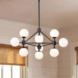 Fabiola Matte Black Finish Industrial 10-light Chandelier
