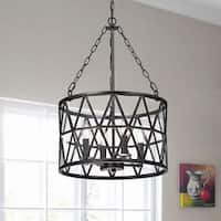Eliana Antique Black Finish Iron Glass Shade 4-light Chandelier
