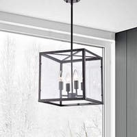 La Pedriza Antique Black 4-Light Square Cage Chandelier