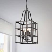 Henrietta Antique Black Iron Cage 4-light chandelier