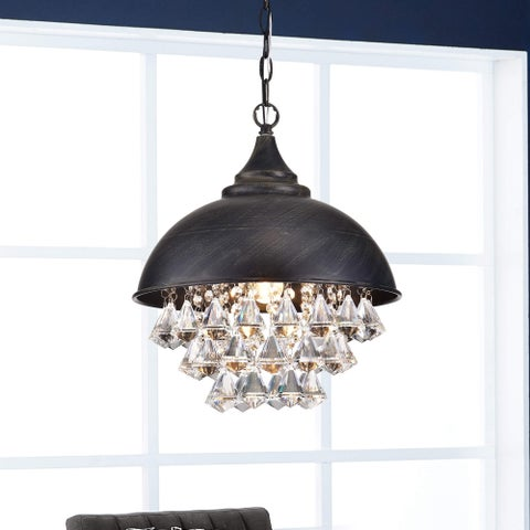 Visalia Antique Black Single Light Crystal Chandelier