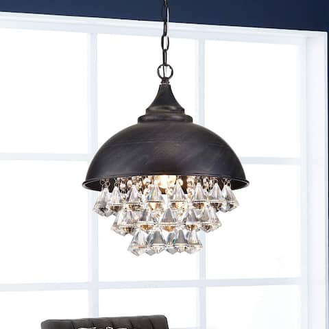 Visalia Antique Black Single Light Crystal Chandelier