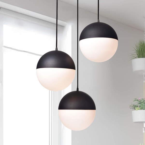 Shop Fabiola Matt Black 3 Light Globe Pendant Chandelier