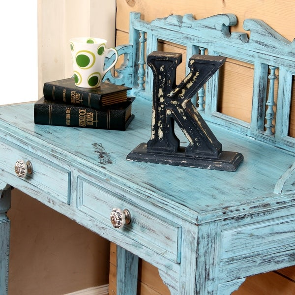 Shabby Chic Wooden Desk Tidy Hand Carved Wood Letter Rack in Distressed Effect