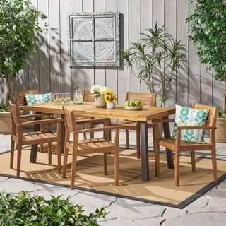 Avon Outdoor Rustic 7 Piece Rectangular Acacia Wood Dining Set By  Christopher Knight Home
