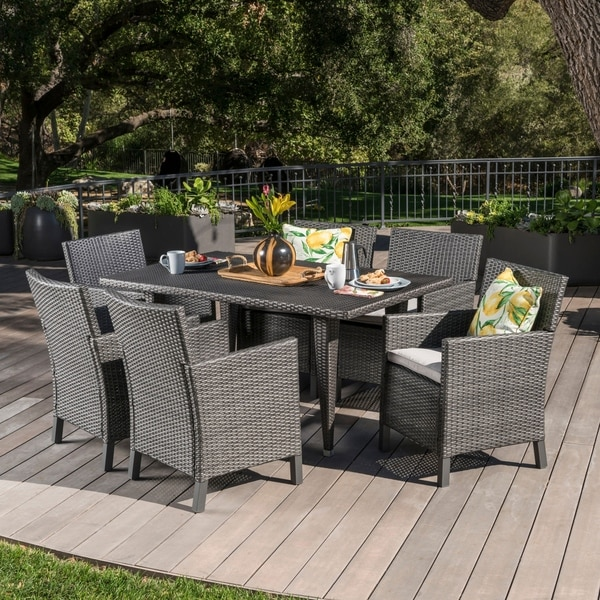 Celeste Outdoor 7-piece Rectangular Wicker Dining Set with Cushions by Christopher Knight Home