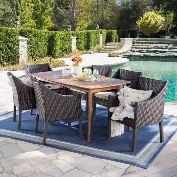 Ethan Outdoor 7-piece Rectangular Wicker Wood Dining Set with Cushions by Christopher Knight Home