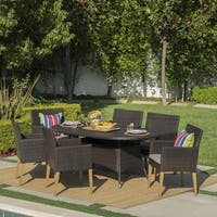 Barnett Outdoor 7-piece Oval Wicker Dining Set with Cushions by Christopher Knight Home