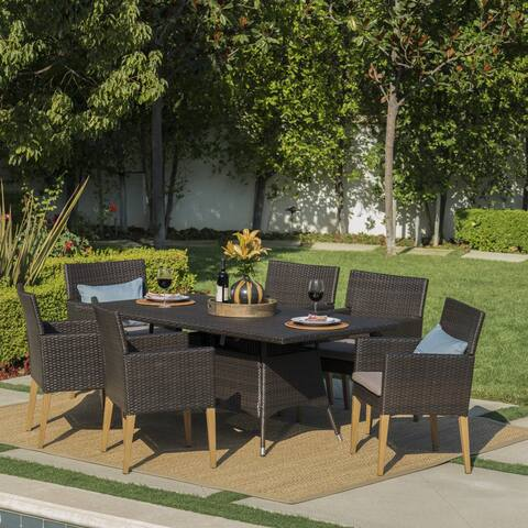 Barnett Outdoor 7-piece Rectangular Wicker Dining Set with Cushions by Christopher Knight Home