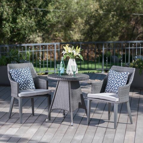 Hillhurst Outdoor 3-Piece Round Wicker Bistro Chat Set with Umbrella Hole & Cushions by Christopher Knight Home