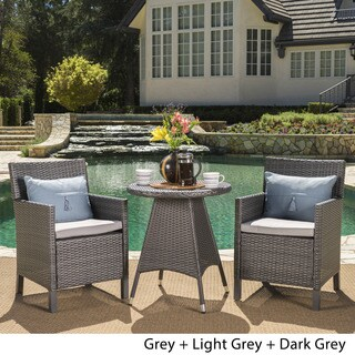 Cypress Outdoor 3-Piece Round Wicker Bistro Chat Set with Umbrella Hole & Cushions by Christopher Knight Home