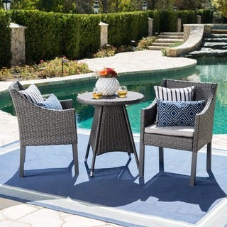 Franco Outdoor 3-Piece Round Wicker Bistro Chat Set with Umbrella Hole & Cushions by Christopher Knight Home