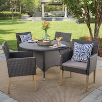 Barnett Outdoor 5-piece Round Wicker Wood Dining Set with Cushions & Umbrella Hole by Christopher Knight Home