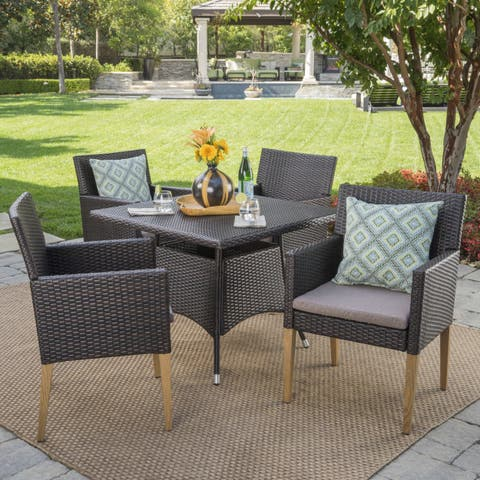 Barnett Outdoor 5-piece Square Wicker Wood Dining Set with Cushions by Christopher Knight Home