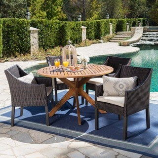 Owen Outdoor 5-piece Round Wicker Wood Dining Set with Cushions by Christopher Knight Home