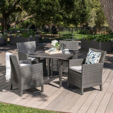 Celeste Outdoor 5-piece Square Wicker Wood Dining Set with Cushions by Christopher Knight Home