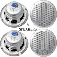 300 Watts 5.25'' Dual Cone Marine Speakers (Silver Color) 2 Pairs
