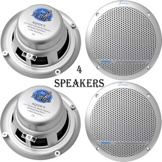 Lanzar AQ5DCS 300 Watts 5.25'' Dual Cone Marine Speakers (Silver Color) 2 Pairs