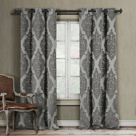 Duck River Catilie Damask Curtain Panel Pair - 38x84""