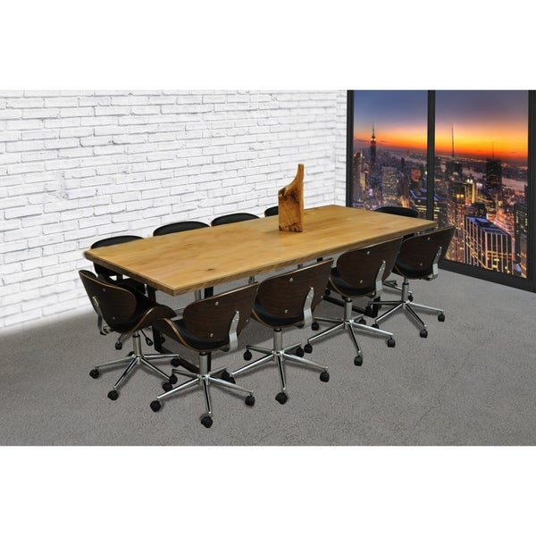 SOLIS Castillo 11-Piece Solid Wood Conference Table Set with Wood and Black Bonded Leather  sc 1 st  Overstock.com & SOLIS Castillo 11-Piece Solid Wood Conference Table Set with Wood ...