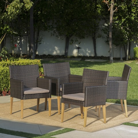 Barnett Outdoor Wicker Wood Dining Chairs with Cushions (Set of 4) by Christopher Knight Home