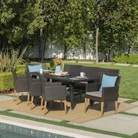 Carlton Outdoor 9-piece Rectangular Wicker Wood Dining Set with Cushions by Christopher Knight Home