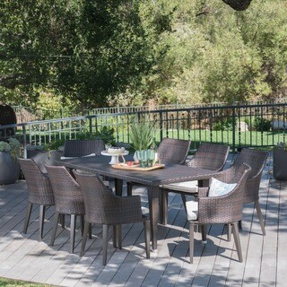 Lenox Outdoor 9-piece Rectangular Wicker Dining Set with Cushions by Christopher Knight Home
