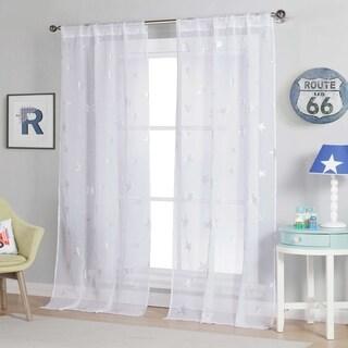 "Lala Bash Gruda Sheer Printed Metallic Stars Curtain Panel Pair - 37x84"""
