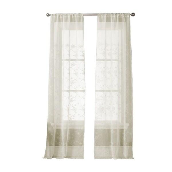Emb Harlow Sheer Pole Top Curtain Panel Pair - 35x96