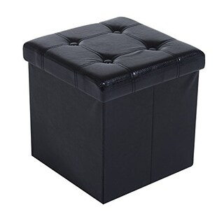 "HomCom 15"" Folding Tufted Square Storage Ottoman - Black"