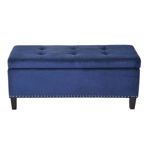 Cool Shop Homcom 42 Tufted Fabric Ottoman Storage Bench Blue Pdpeps Interior Chair Design Pdpepsorg