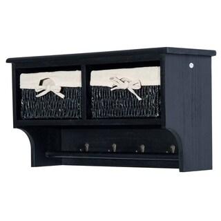 "HomCom 24"" Hanging Entryway Cubbie Storage Shelf w/ Baskets and Hooks - Black"