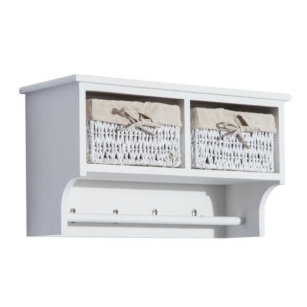 Homcom 24 Hanging Entryway Cubbie Storage Shelf W Baskets And Hooks White
