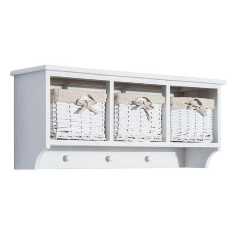 "HomCom 31"" Hanging Entryway Cubby Storage Shelf w/ 3 Baskets and Hooks (White)"