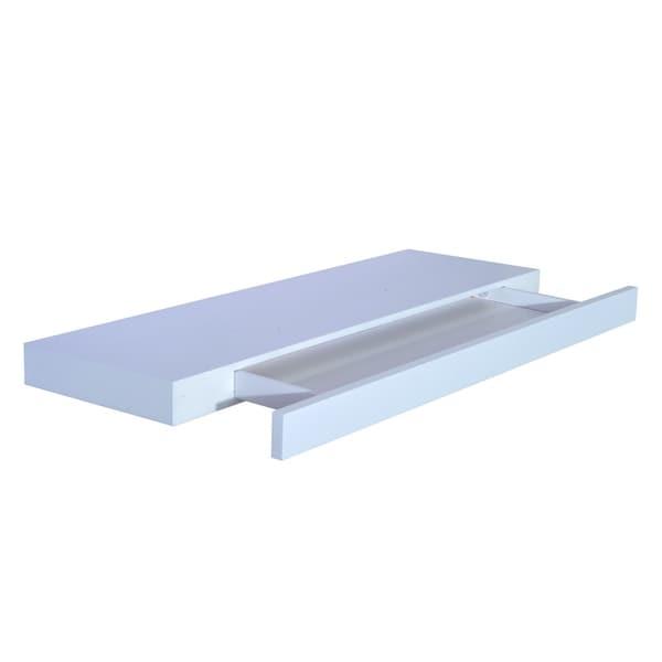 HomCom 32u201d Modern Wall Mounted Floating Storage Shelf With Small Hidden  Drawer  White