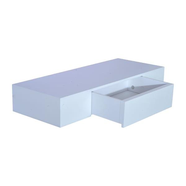 HomCom 24u201d Modern Wall Mounted Floating Storage Shelf With Small Hidden  Drawer  White